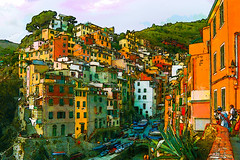 Riomaggiore, Cinque Terre Ver1 (AjayGoel2011) Tags: world morning windows italy orange color colors fog photomanipulation photoshop painting landscape nikon italia explore cinqueterre nikkor creativecommon ajaygoel moment flickriver decisive