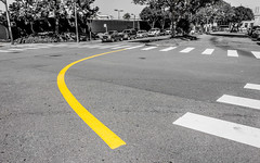 Playing With The Traffic (DobingDesign) Tags: sanfrancisco california road street usa abstract cars lines yellow bend outdoor stripes streetphotography surreal sidewalk direction intersection curve confusion roadmarkings