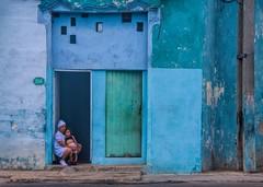 Havana  House 156 (Clare Pickett) Tags: door old blue child havana cuba mum