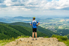 Enjoying view from Pustevny (AdamTje) Tags: vacation sky man june clouds outdoors nikon cyclist cloudy hills czechrepublic cz tamron lightroom 2016 dovolena tamron1750 d7100 trojanovice moraviansilesianregion