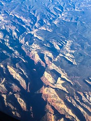Zion Canyon, dark shadows conceal the Big Bend of the Virgin River but Angel's Landing and the Great White Throne are visible (Matt McGrath Photography) Tags: utah unitedstates hurricane flight aerial angelslanding zionnationalpark americanairlines windowseat virginriver zioncanyon greatwhitethrone
