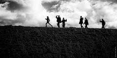 Hello! (Ian Smith (Studio72)) Tags: hello uk travel family england people blackandwhite bw travelling monochrome silhouette contrast walking mono blackwhite norfolk railway wells nb greetings waving greeting wellsnextthesea rx100 studio72 sonyrx100