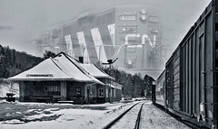 Huntsville Train Station (Knarr Gallery) Tags: railroad roof winter blackandwhite snow ontario heritage train nikon huntsville traintracks engine railway trainstation bracebridge locomotive muskoka boxcars railcars cnr d300 gravenhurst canadiannationalrailway nikon18200mmvriiafs monochromehistoric