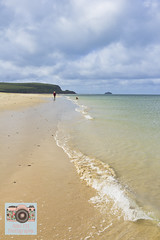 A Woman and her Dog (Abbi P) Tags: dog walker waves tregirls beach padstow cornwall sand sea clear waters