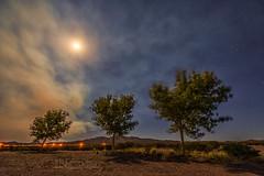 Smoky Moon (inlightful) Tags: trees sky moon clouds stars fire evening haze smoke nightsky smoky wildfire starrynight