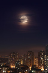 Mysterious Moon and Sparkling City (Katrin Ray) Tags: christmas sky moon toronto ontario canada clouds canon eos rebel december glow fullmoon moonrise 2015 moonrising canonphotography 750d dreamscapesoftoronto katrinray t6i christmasfullmoon2015 mysteriousmoonandsparklingcity