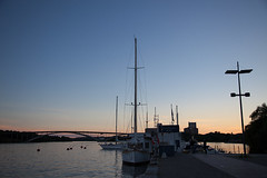Marina near Kungshomstorg (Florian Btow) Tags: bridge blue sunset water marina harbor ship sweden stockholm hour masts mariefred kungsholmstorg