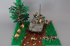 Sherman advance, France 1944 (kr1minal) Tags: world 2 soldier toys war tank lego nazi wwii diorama sherman panzer wehrmacht brickmania