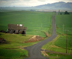 Think of it as an adventure... (France-) Tags: road usa green barn countryside washington vert route washingtonstate exploration discovery campagne wandering grange chemin palouse 701 adveture