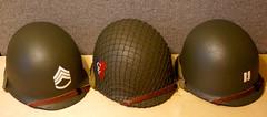 M1 Helmets (Pacific Kilroy) Tags: hat soldier army us m1 head steel military wwii helmet gear equipment worldwarii ww2 firestone mccord artifact gi memorabilia militaria westinghouse steelpot schluter hadfieldmanganesesteel followmestripe