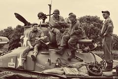Crew taking a break on their M4 Sherman (jono85) Tags: sepia army nikon tank crew armour sherman tankers embarkation