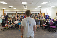 Paper Barrage (aaronrhawkins) Tags: chipcamp chip camp summer kids byu brighamyounguniversity stem statistics throw toss attack science math learning activity random aaronhawkins