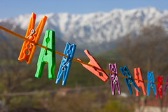 (yuriye) Tags: life blue urban orange house mountain snow colour green beautiful yard rural spring pin village view pins armenia clothespin vilage  tatev