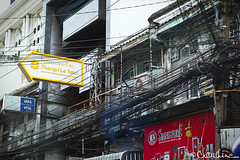 (by claudine) Tags: city signs architecture facade thailand hotel wire travels asia chaos bangkok culture front tourist shangrila exotic signage electrical attraction expat travelphotography