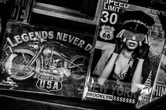 . (robbie ...) Tags: legends never die melbourne lady motor bike leather gear outfit hat diamond encrusted lips red gloves low cut monochrome fujifilm fuji xt10 new york brooklyn dollars route 66
