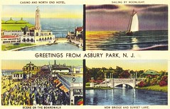 "New Jerdey - ""Greetings from Asbury Park"" / Almost Killed on Way Back (ramalama_22) Tags: park new york station train court garden harrison state accident album bruce nj engine steam cover montage penn jersey asbury greetings lirr testimony springsteen collision"