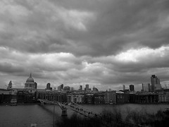Photo (Daniel Pietzsch) Tags: uk bridge england sky london st thames modern lumix cathedral photos tate g dramatic pauls millennium millenniumbridge tatemodern stpaulscathedral dmcgf1 14f25 lumixg14f25