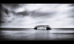 Foundations (scott masterton) Tags: bridge light white black beach scott mono scotland pentax nowhere sigma east 1750 mm lothian fascinating masterton belhaven nd400 k30 ndx400