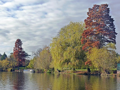 Avon (TonyKRO) Tags: autumn trees fall water clouds reflections river boat narrowboat warwickshire stratforduponavon redleaves riveravon