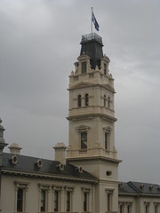 The Tower of the Ballarat Post Office - Corner Lydiard and Sturt Streets, Ballarat (raaen99) Tags: city windows roof white building tower window architecture facade balcony pillar 19thcentury postoffice australia landmark victoria column 1860s nationaltrust palazzo moulding pediment stucco ballarat goldrush 1885 nineteenthcentury consoles italianate 1880s countryvictoria balconette 1864 civicbuilding heritagelisted widowswalk sturtstreet sturtst mansardroof dormerwindows hippedroof mailhouse roofvents goldrushera williamwardell provincialvictoria lydiardstreet ballaratpostoffice pedement lydiardst stuccoedbrick architecturallydesigned italianatepalazzo arcuatedwindows renaissancehoods corbelledwindow