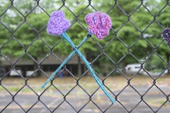 IMG_7816 (Eugene Knotty Knitters) Tags: flowers streetart graffiti knitting eugene uo universityoforegon eugeneoregon knitgraffiti knottyknitters guerrillaknitting yarntag yarnbombing yarnbomb eugeneknottyknitters
