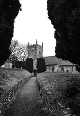 Upper Slaughter Church (albireo2006) Tags: england blackandwhite bw church graveyard blackwhite path cotswolds pb nb bn churchyard pathway villagechurch blackandwhitephotos upperslaughter blackwhitephotos