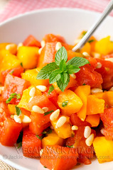 Refreshing Watermelon Tomato Salad (Yack_Attack) Tags: food tomato recipe salad vegan healthy raw side mint watermelon vegetarian basil easy glutenfree dairyfree soyfree veganyackattack