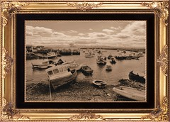 Coatham Harbour ( Paddy's Hole ) (Lee Summerson) Tags: sea sepia clouds river boats line shore teesside tees redcar teesvalley coatham sealsands