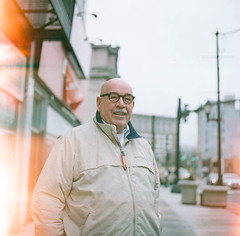 Binghamton In The Morning (Tyler Constance) Tags: street light portrait man film vintage fuji lightleak hasselblad fujifilm medium format leaks 400h hasselbladc500