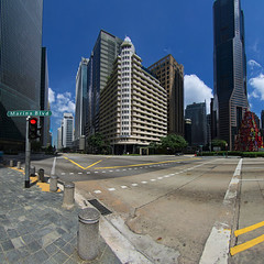 Street Level View (night86mare) Tags: street city blue light urban panorama color architecture modern clouds buildings singapore view skyscrapers illumination fisheye tall noon stitched k5
