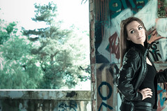 Lorena (Shauna-Leigh) Tags: portrait urban blackandwhite bw black colour abandoned girl monochrome fashion female lensbaby 50mm graffiti blackwhite model factory dof natural flash naturallight flashphotography ambient editorial leggings glamorous shallowdepthoffield urbex vibrancy