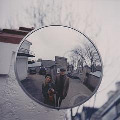 (Džesika Devic) Tags: city boy portrait reflection film girl self mediumformat quebec 120mm yashicaa