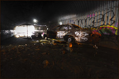 Forgot where you parked your car? (Andy Keys) Tags: longexposure lightpainting car australia drain urbanexploration queensland sewer carfire carwreck urbex