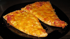 Monterey jack and cheddar pizza (Coyoty) Tags: red food orange college yellow cheese cafe connecticut ct pizza cheddar farmington montereyjack cornercafe tunxiscommunitycollege