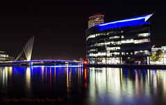 Bouncing Light at Salford Quays (Glyn Owen Photography & Image-Art) Tags: city bridge reflection skyscraper manchester lights media cityscape landmark company bbc broadcasting british waterscape