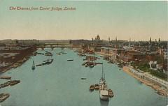 Inglaterra - The Thames from Tower Bridge, London (tico_manudo) Tags: london england vintagepostcards tarjetaspostalesvintage thethamesfromtowerbridgelondon