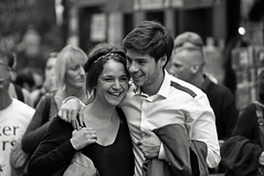 Streets of Montmartre (starbuck77) Tags: portrait blackandwhite woman paris france cute girl smile french happy nikon couple pretty faces candid young smiles streetphotography montmartre romance brunette d90