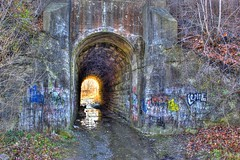 Sometimes it is easy to be afraid. (13skies) Tags: tunnel haunted spooky legends littlegirl stcatharines stories hdr myth stdavids talltales thescreamingtunnel vision:outdoor=0934