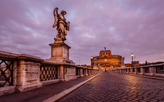 Castle of Holy Angel and Holy Angel Bridge over the Tiber River in Rome at Dawn, Italy (ansharphoto) Tags: old city travel bridge blue italy sculpture rome roma reflection building castle history monument water saint statue skyline architecture angel night river landscape dawn lights evening twilight italian ancient europe italia cityscape roman fort dusk capital tomb culture landmark medieval illuminated holy mausoleum tiber tevere angelo fortress sant hadrian castel