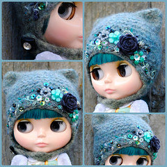 The Folklore Kitty Helmet: Shadow Blossom (Euro_Trash) Tags: flowers blue black green wool grey embroidery buttons helmet handknit website eurotrash kittyhelmet handfelted handembroidered handmadeforblythe