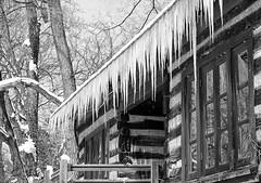 (digiphotonut) Tags: winter bw ice illinois logcabin icicles peremarquettestaepark