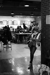 The Girl at Starbucks - Port Authority Bus Terminus (Shibaji Dattagupta Photography) Tags: street new york winter white black bus coffee girl beautiful mobile 35mm canon wonder cafe phone candid authority young busy starbucks ports messaging gupta 6d terminus 24105 datta shibaji