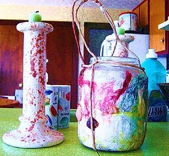 remembrances (LauraSorrells) Tags: blue ohio vacation stilllife painterly love kitchen rural ceramic this bottle farm object vivid september plastic nostalgia jar culinary candlestick 2007 columbianacounty