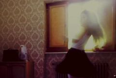 Slow dancing in a burning room (L'instant c'est moi) Tags: light sun selfportrait home window colors girl beautiful beauty analog vintage skinny star movement dancing bright room blurred skirt melody burning burn solo lonely feeling cohen roo wander nostalgie sensation melancholia chasinglight