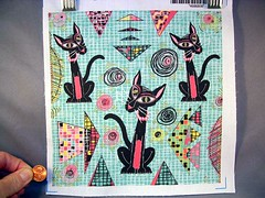 Geometric Cubist Hep Cats, large scale, 8x8 test swatch in basic combed cotton (sassyone2013) Tags: wallpaper cats geometric home animal animals modern century cat design graphics mod feline hand sewing wrap retro fabric gift indie quilting designs drawn decor mid crafting geometrics spoonflower