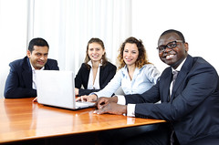 Business Team Diversity (leandro.js33) Tags: blue people men smiling horizontal businessman photography office team women sitting technology desk african laptop indian working diversity tie dressedup suit africanamerican highkey positive copyspace wirelesstechnology cheerful minority success equality conferenceroom teamwork caucasian businesspeople mixedrace fourpeople businesswoman blondhair officeworkers colorimage lookingatcamera businessteam