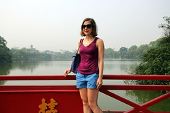 The Huc Bridge on Hoan Kiem Lake (Bex.Walton) Tags: travel vietnam hanoi hoankiemlake oldquarter