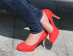 Red Shoes (Raphooey) Tags: uk red england london girl crimson shoe shoes legs leg gb heels denim paddington heel stiletto eans shapely stileetos