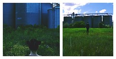 **Mothership (Despina Titoni) Tags: blue light portrait sky woman selfportrait color green nature girl grass female clouds outside back spring diptych photographer natural may silo greece liftoff concept conceptual calling leap mothership nikond3100 sailormoonhair