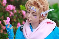 Caesar Zeppeli, Jojo's Bizarre Adventure Cosplay (firecloak) Tags: pink blue anime flower hair cosplay caesar adventure blonde bizarre jojos crossplay zeppeli louisianime
